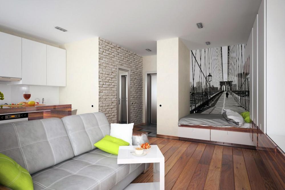 Планировка однушка – современный дизайн пространства, разделение студии  площадью 40 кв. метров на зоны комнаты и кухни