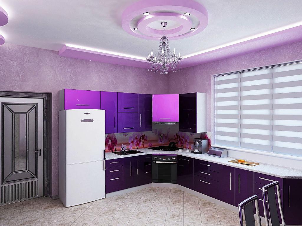 выбрать обои для фиолетовой кухни фото работает